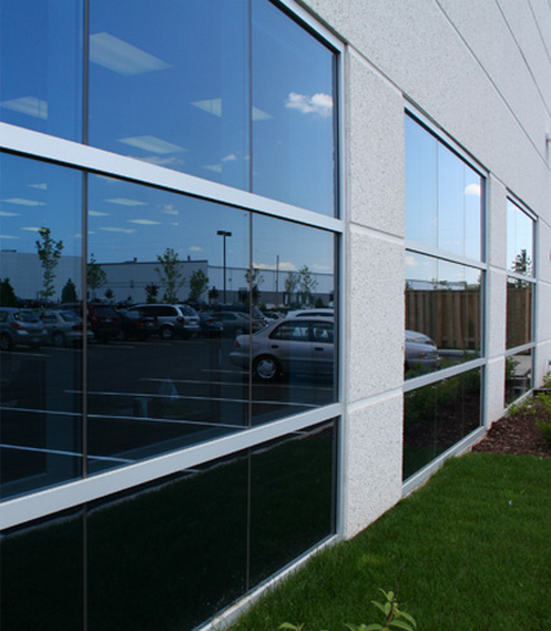 Large windows cut out directly from the precast.