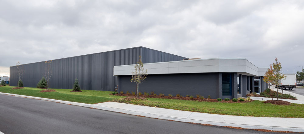New landscaping and an extensive paint job made a significant difference to the look of this large warehouse building.