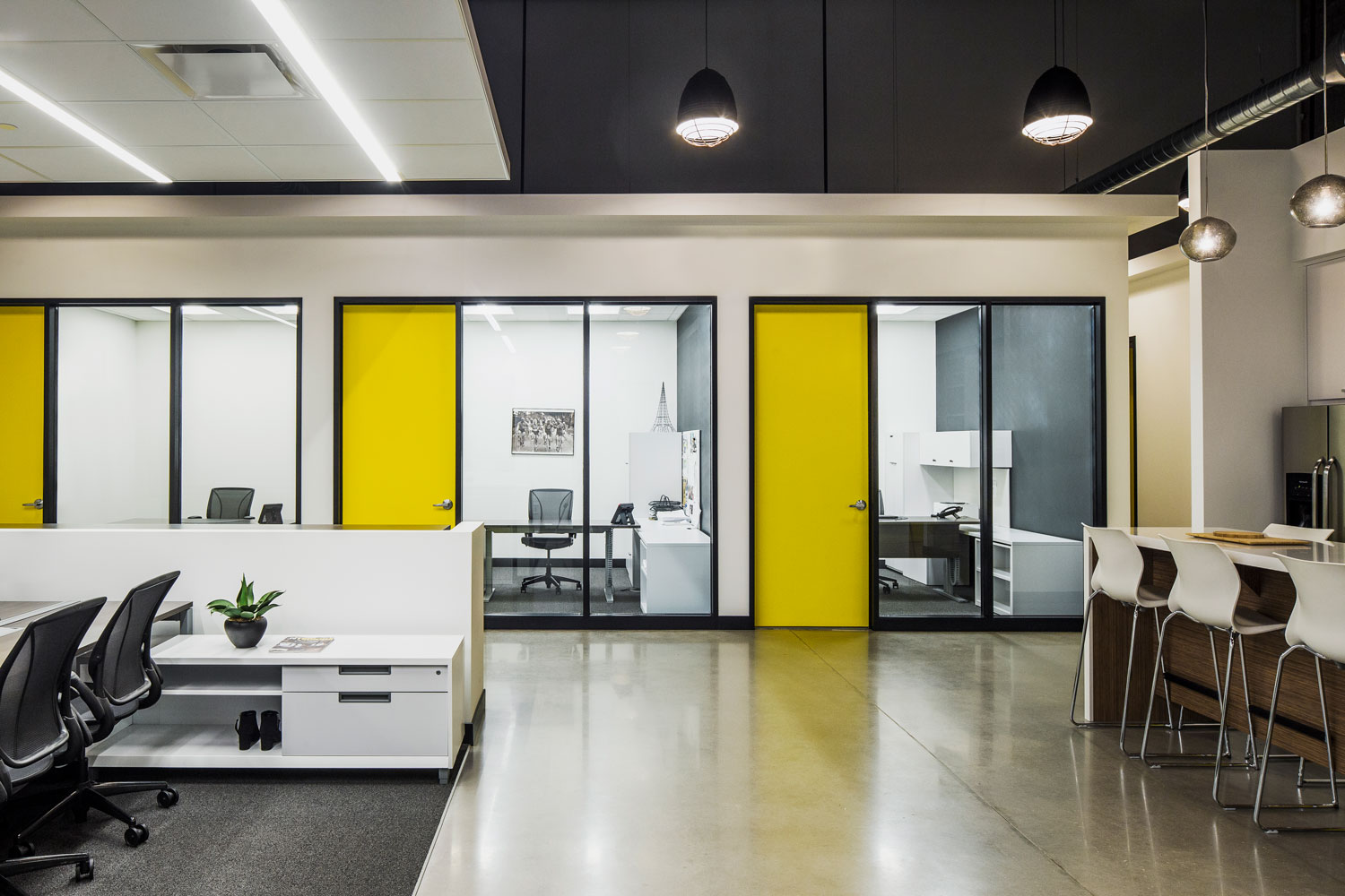 interior office with yellow doors