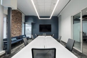 office boardroom with custom masonry