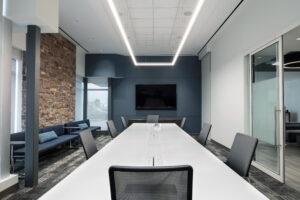 office boardroom with custom masonry